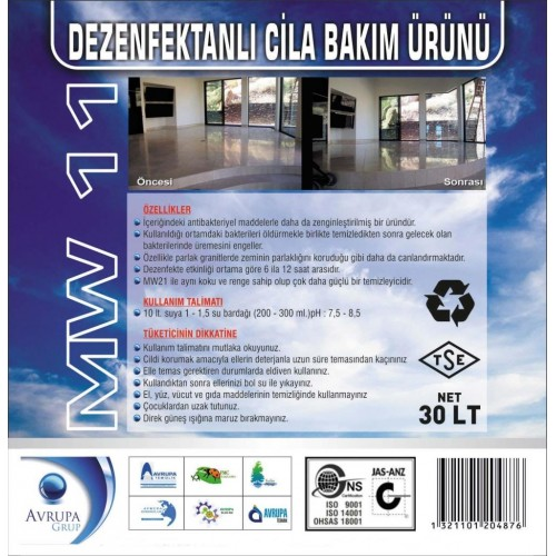MW 11 Dezenfektanlı Cila Bakım Ürünü 30 Litre