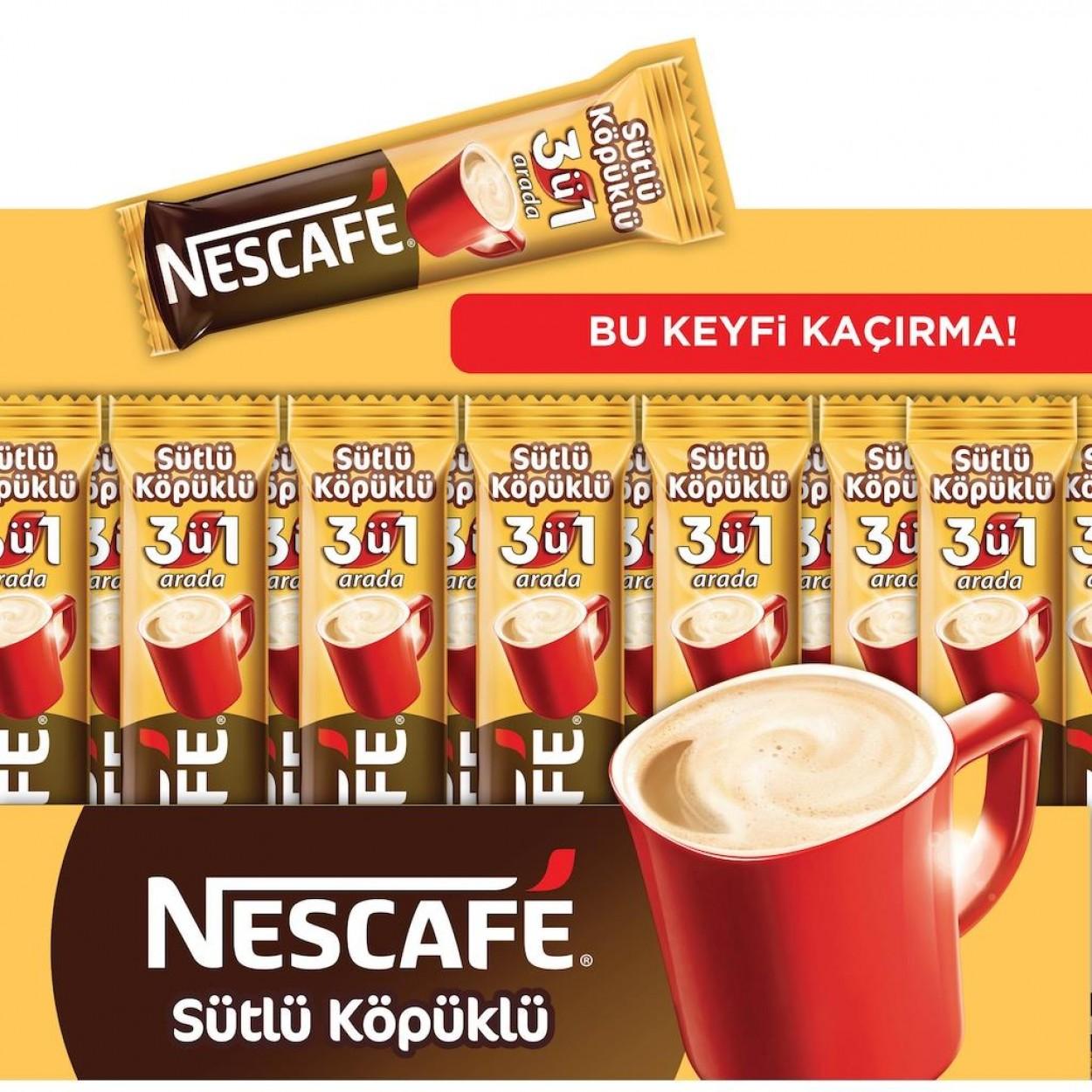 Nescafe 3'ü 1 Arada Sütlü Köpüklü 17.4 gr 72 Li Paket
