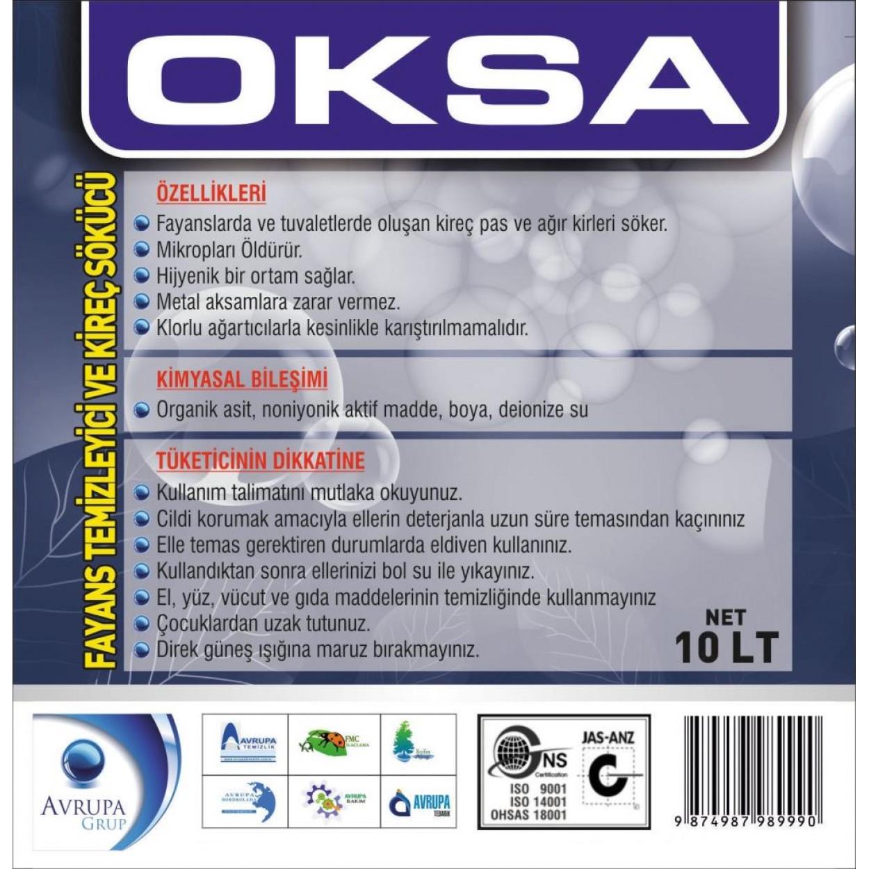OKSA Fayans Temizleyici ve Kireç Sökücü 10 Litre