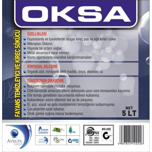 OKSA Fayans Temizleyici ve Kireç Sökücü 5 Litre