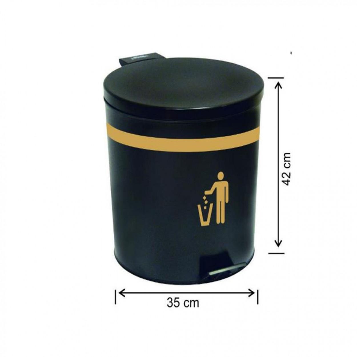 Pedallı Çöp Kovası Siyah Mat Su Sızdırmaz İç Kovalı 40 Litre