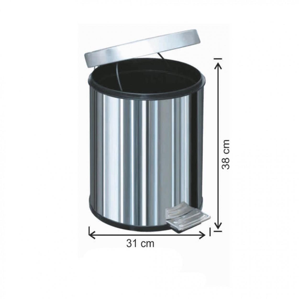 Pedallı Paslanmaz Çöp Kovası 20 Litre