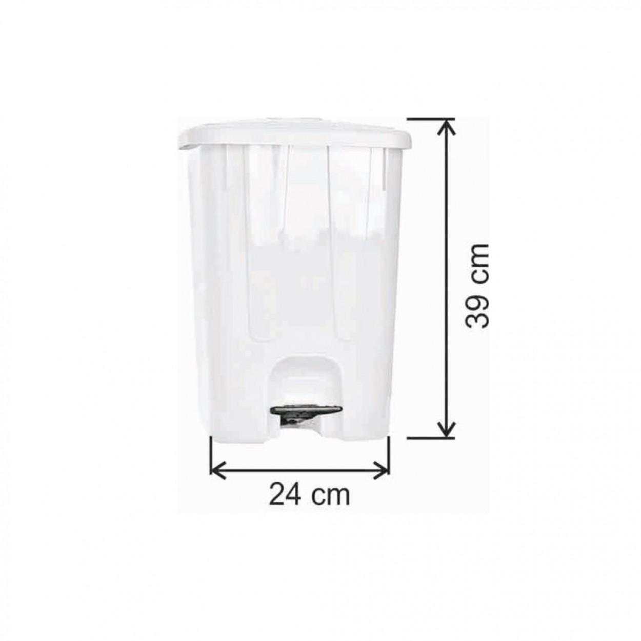 Pedallı Plastik Çöp Kovası Köşeli 17 Litre