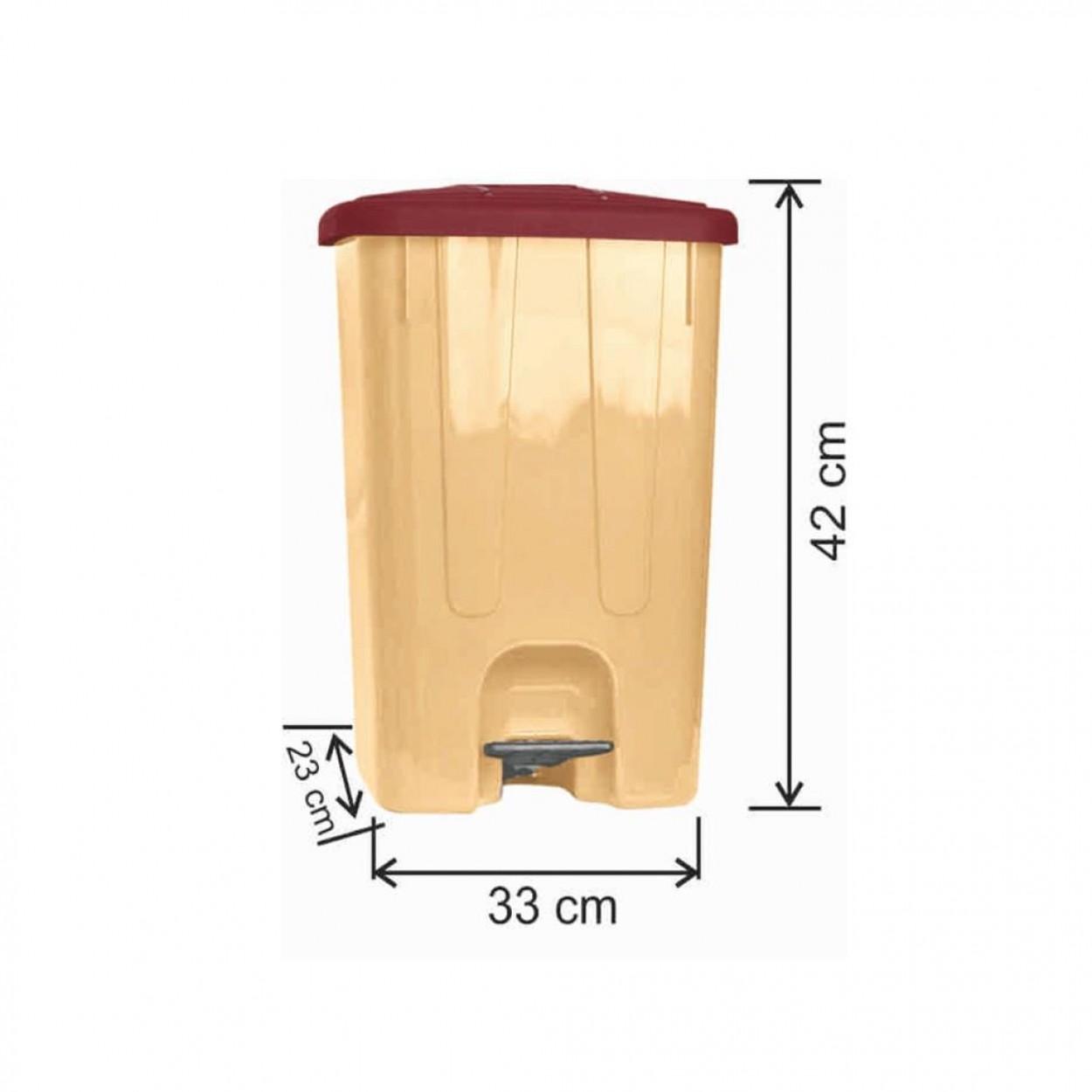 Pedallı Plastik Çöp Kovası Köşeli 25 Litre