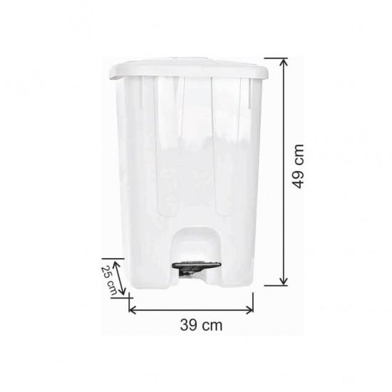 Pedallı Plastik Çöp Kovası Köşeli 40 Litre