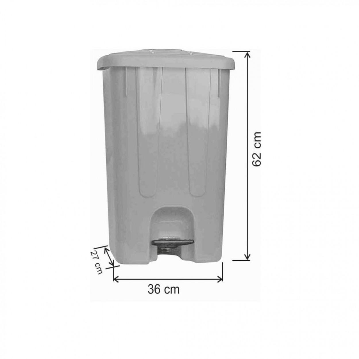 Pedallı Plastik Çöp Kovası Köşeli 65 Litre