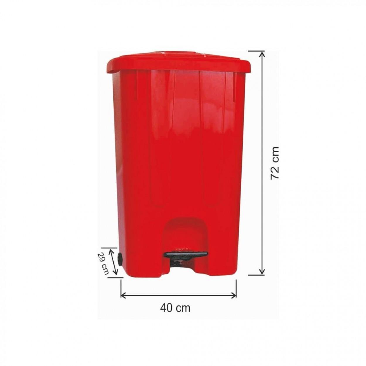 Pedallı Plastik Çöp Kovası Köşeli 85 Litre