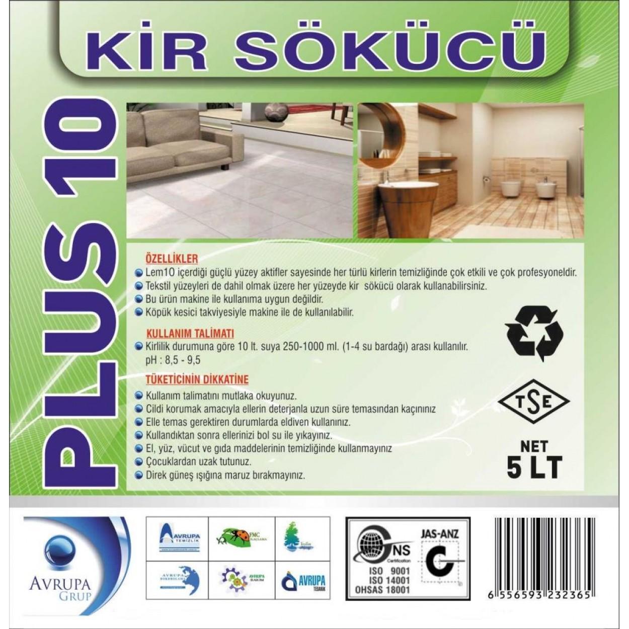 PLUS 10 Kir Sökücü Temizlik Kimyasalı 5 Litre