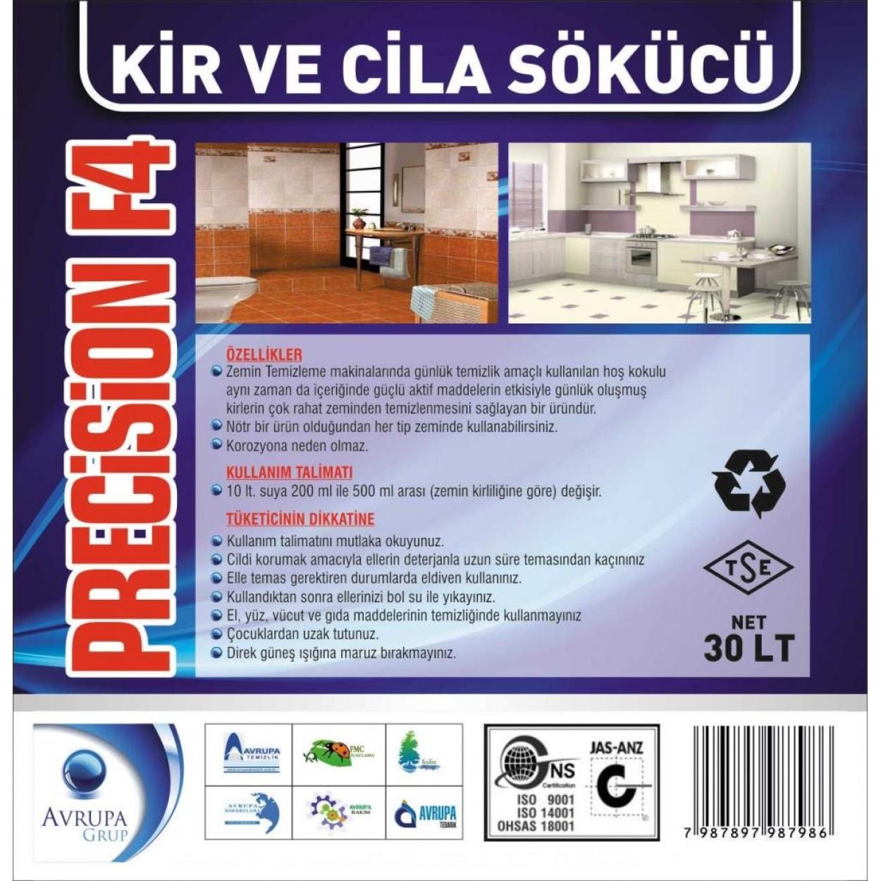 PRECİSİON F4 Kir ve Cila Sökücü 30 Litre