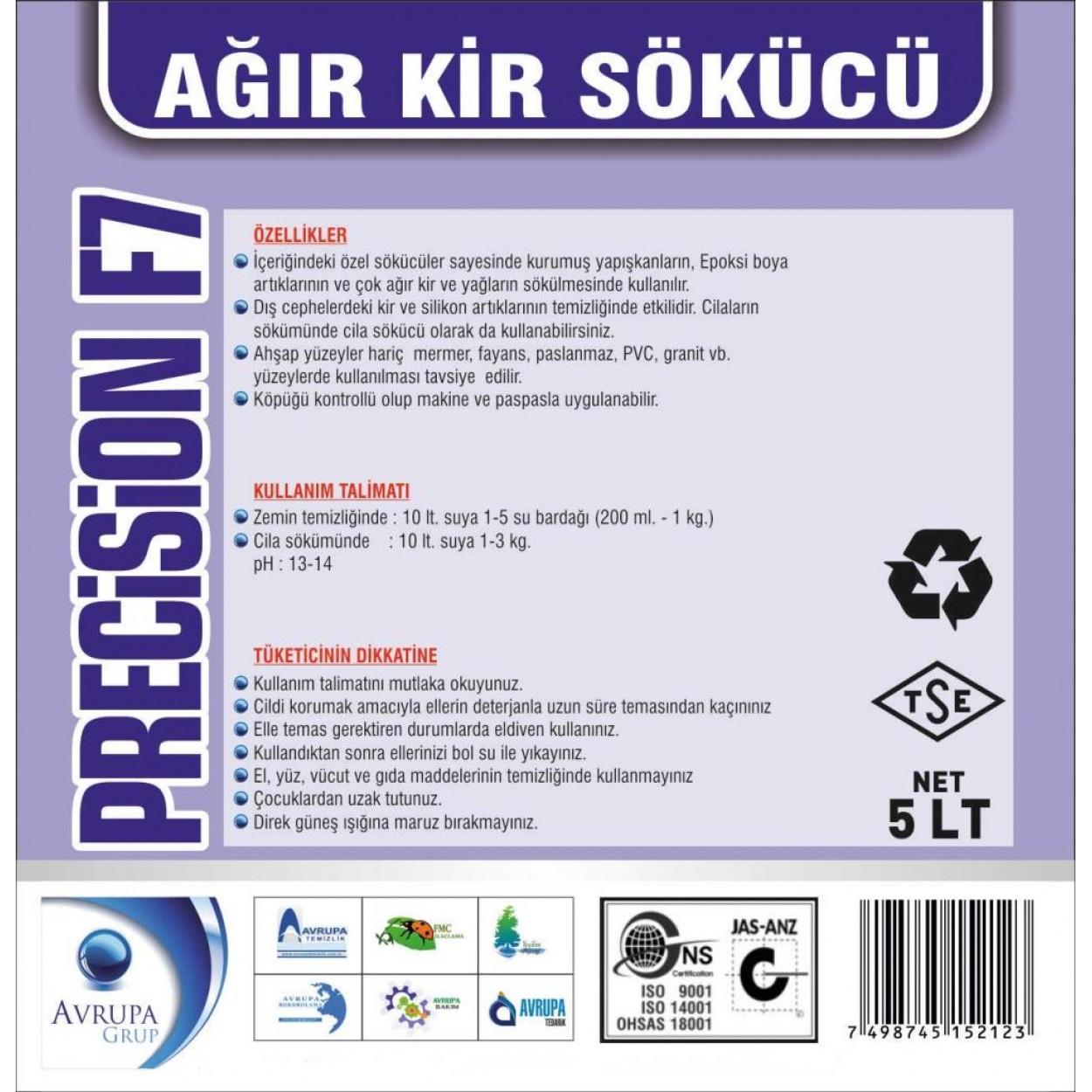 PRECİSİON F7  Zemin Ağır Kir Sökücü Ürün  5 Litre