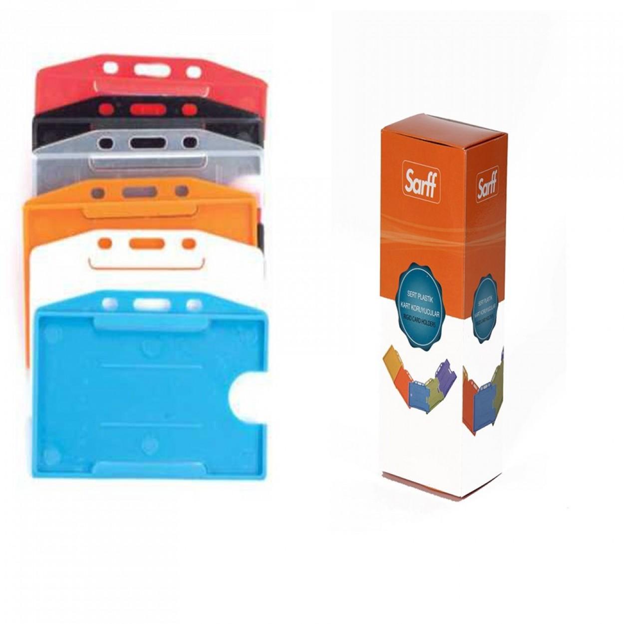 Sarff Sert Plastik Kart Muhafaza Yatay 50 Li Kırmızı