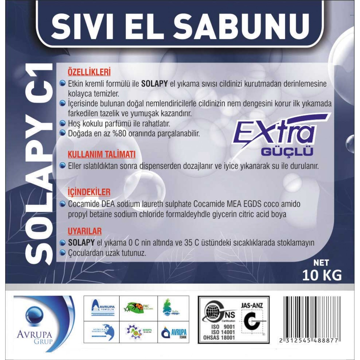 Solapy C1 Sedefli Parfümlü El Yıkama Sıvısı Ekstra 10 Litre