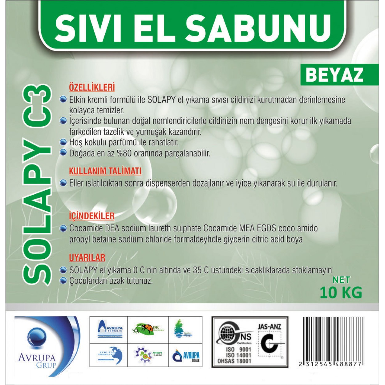 Solapy C3 Sedefli Parfümlü El Yıkama Sıvısı 10 Litre