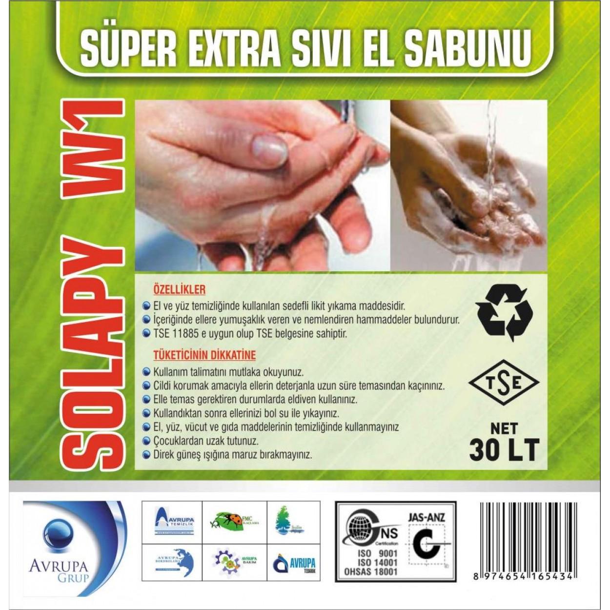 SOLAPY W1 Sedefli Parfümlü El Yıkama Sıvısı S.Ekstra 30 Litre