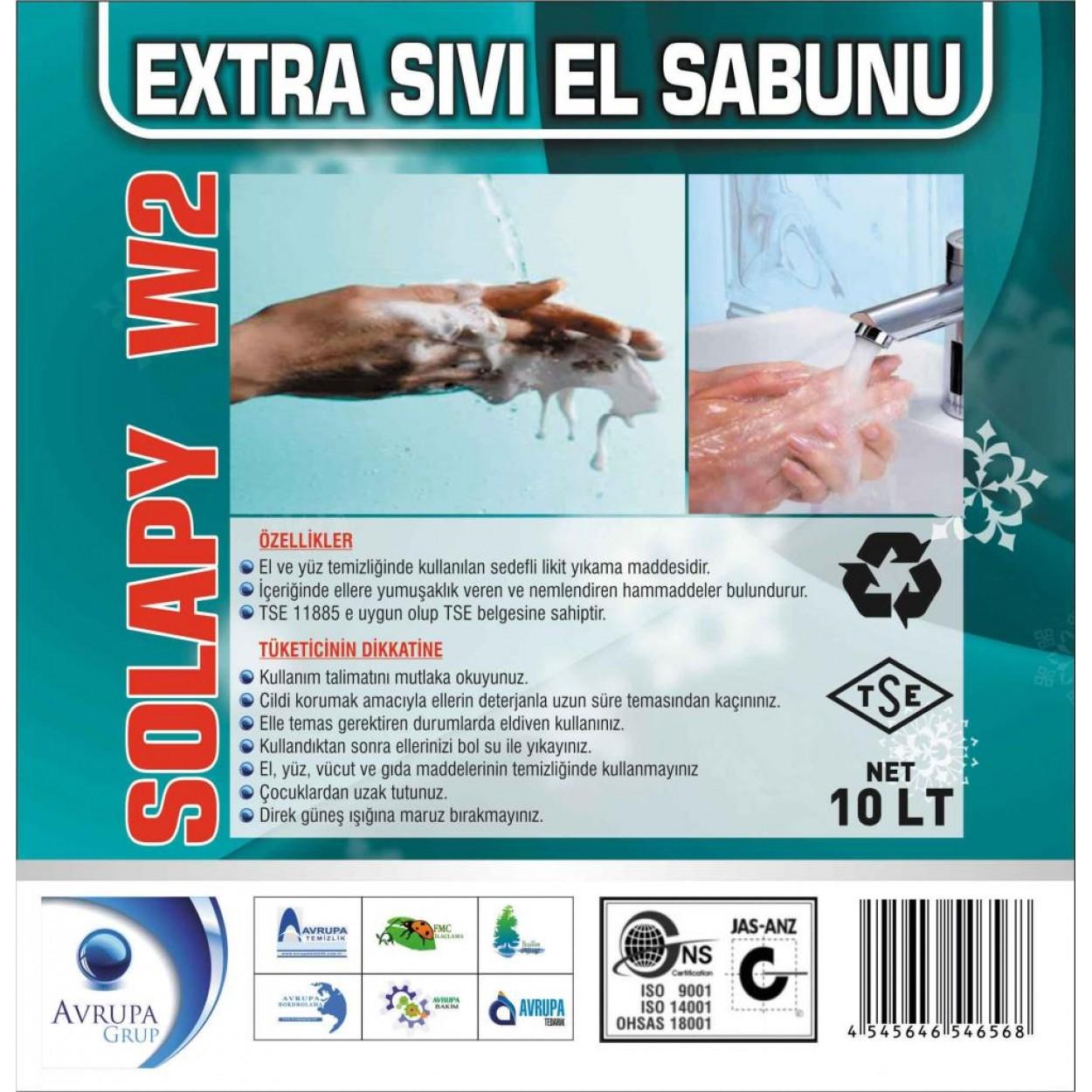 Solapy W2 Sedefli Parfümlü El Yıkama Sıvısı Ekstra 10 Litre