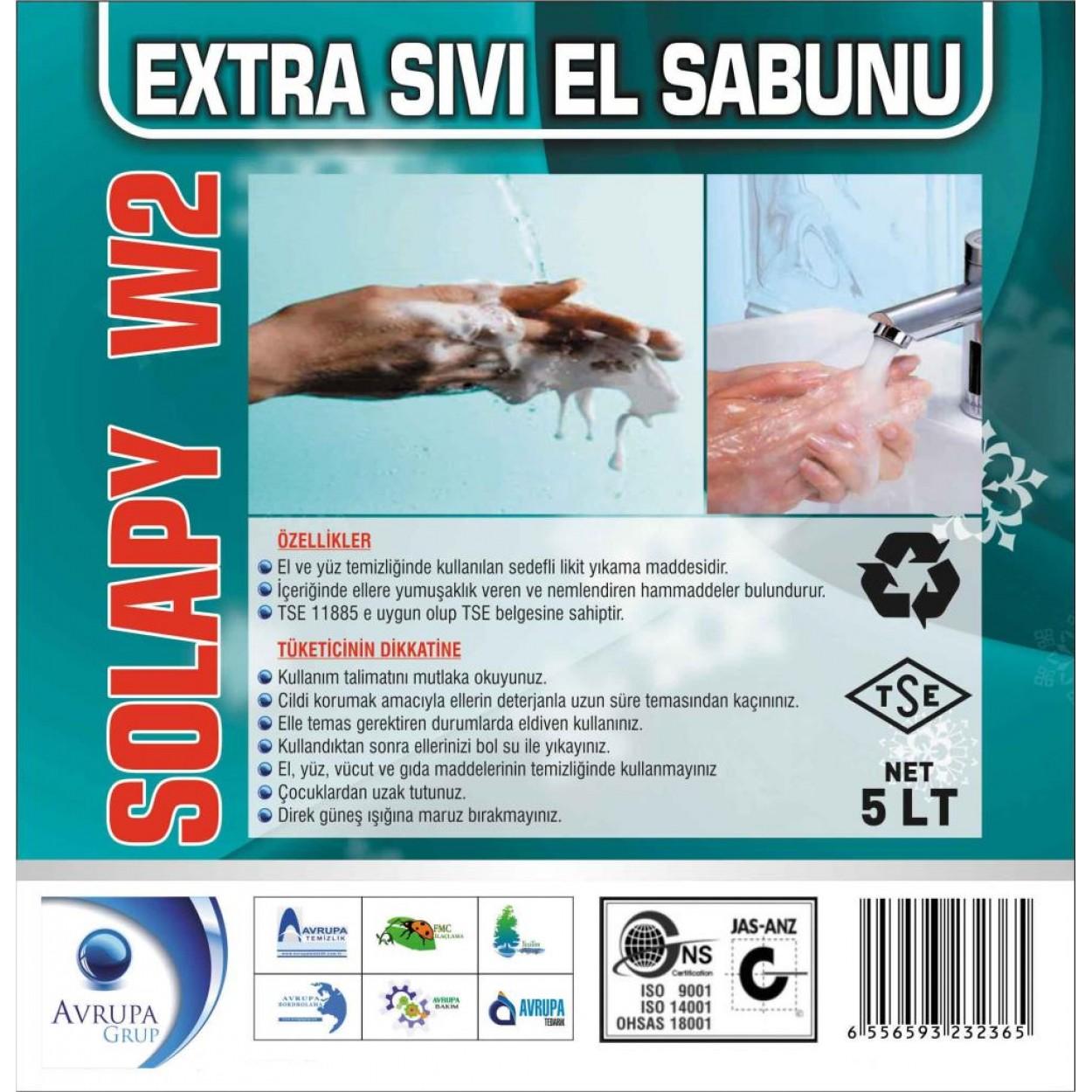 Solapy W2 Sedefli Parfümlü El Yıkama Sıvısı Ekstra 5 Litre