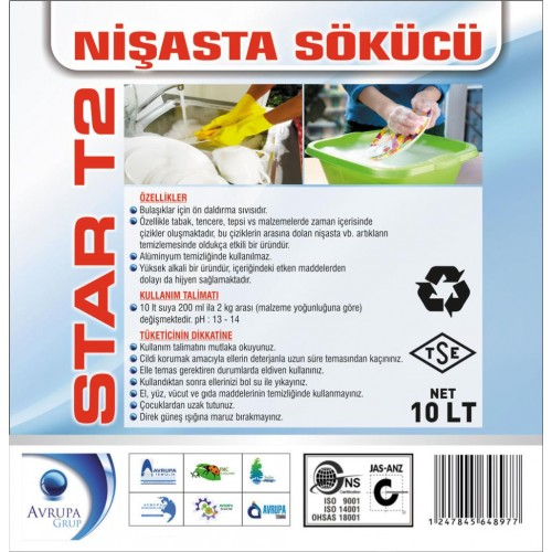 STAR T2  Bulaşık Makinası Nişasta Çözücü Sıvı 10 Kg