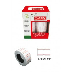Tanex Fiyat Etiketi 21x12 cm Beyaz Renk 800 Lü 6 lı Rulo