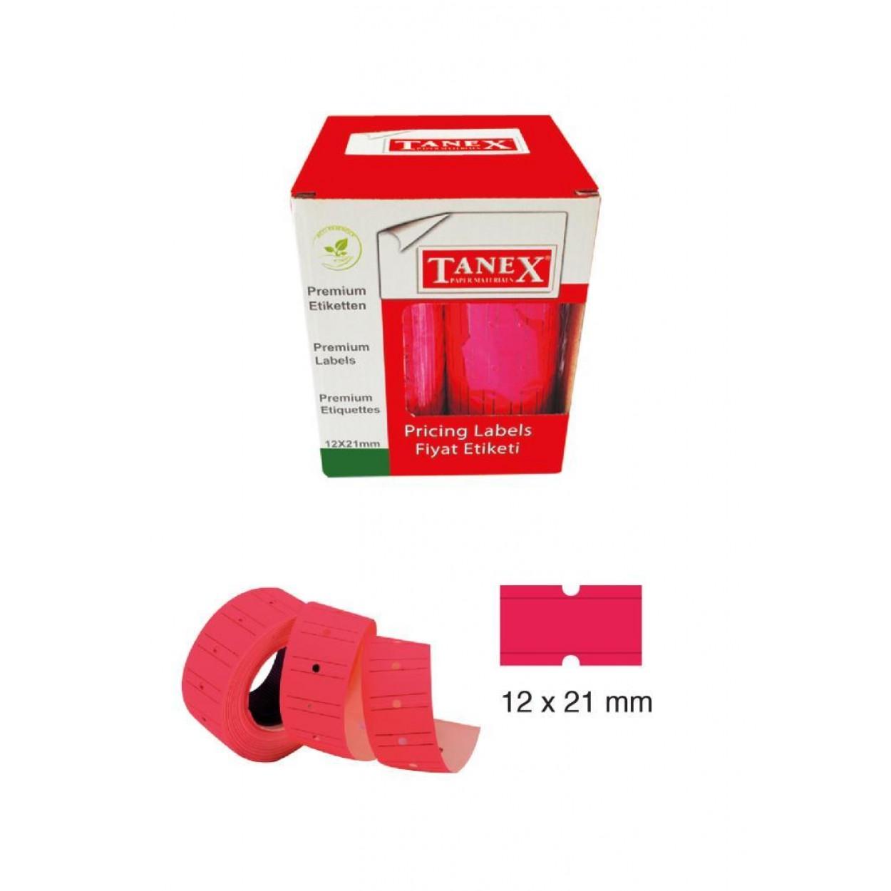 Tanex Fiyat Etiketi 21x12 cm Pembe Renk 800 Lü 6 lı Rulo