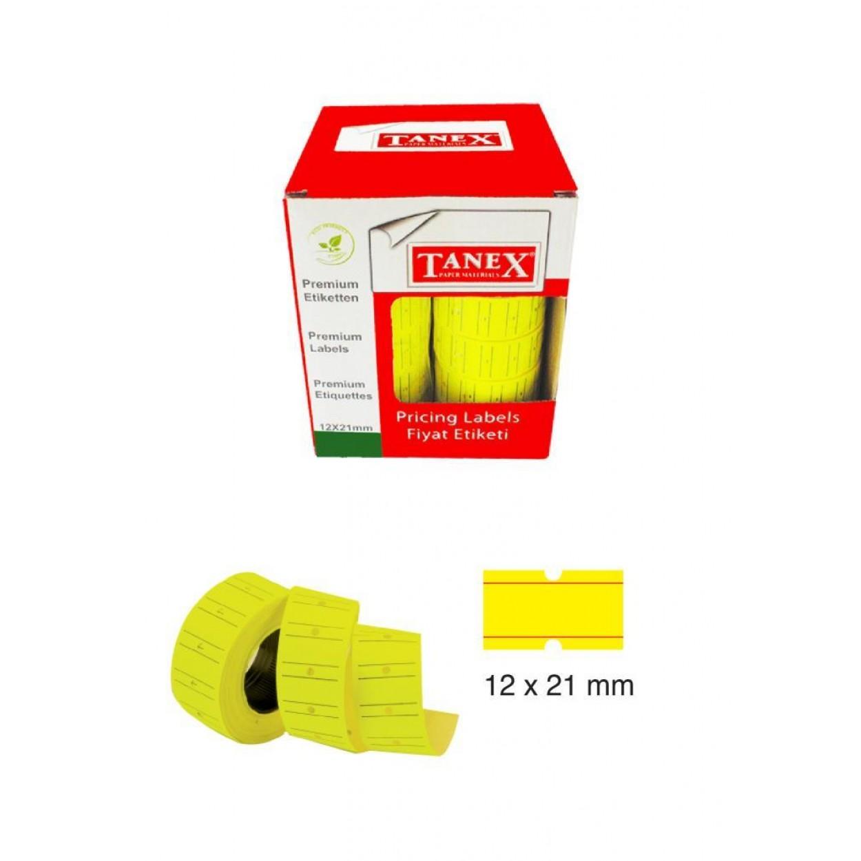 Tanex Fiyat Etiketi 21x12 cm Sarı Renk 800 Lü 6 lı Rulo