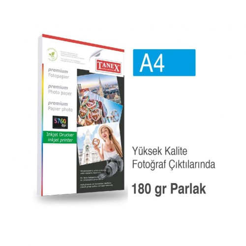 Tanex Fotoğraf Kağıdı A4 180 gr 210 mm x 297 mm 25 Sayfa