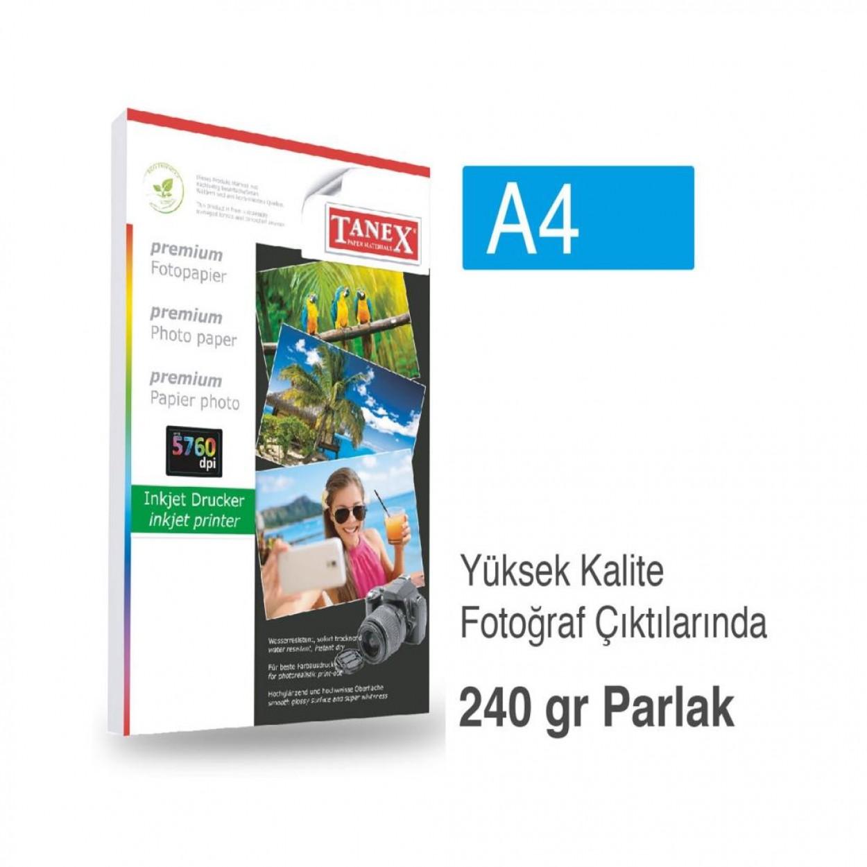 Tanex Fotoğraf Kağıdı A4 240 gr 240 mm x 297 mm 20 Sayfa
