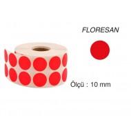 Tanex Nokta Etiket 10 mm 5000 Adet Floresan Kırmızı