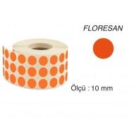 Tanex Nokta Etiket 10 mm 5000 Adet Floresan Turuncu