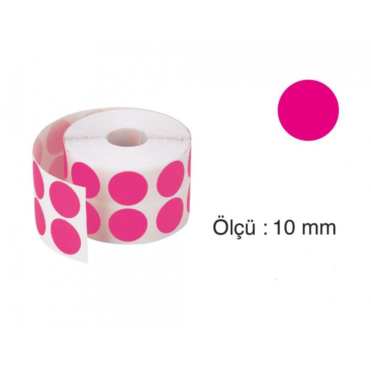 Tanex Nokta Etiket 10 mm 5000 Adet Pembe