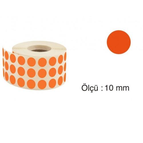 Tanex Nokta Etiket 10 mm 5000 Adet Turuncu