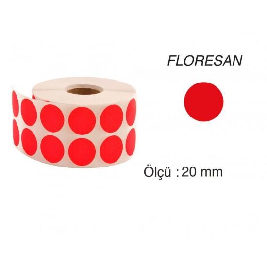 Tanex Nokta Etiket 20 mm 2500 Adet Floresan Kırmızı