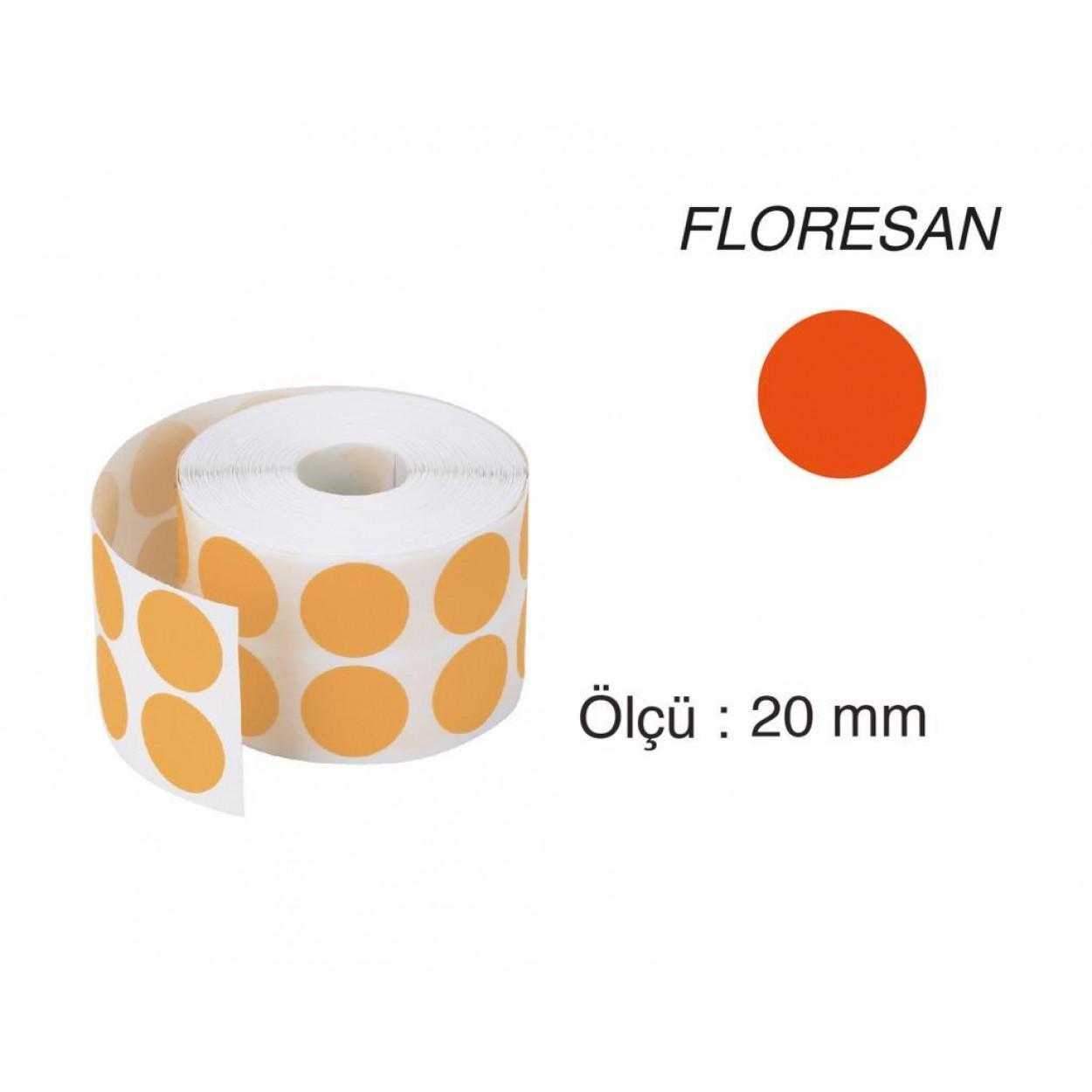 Tanex Nokta Etiket 20 mm 2500 Adet Floresan Turuncu