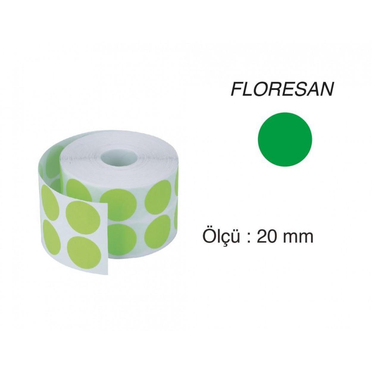 Tanex Nokta Etiket 20 mm 2500 Adet Floresan Yeşil