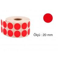 Tanex Nokta Etiket 20 mm 2500 Adet Kırmızı