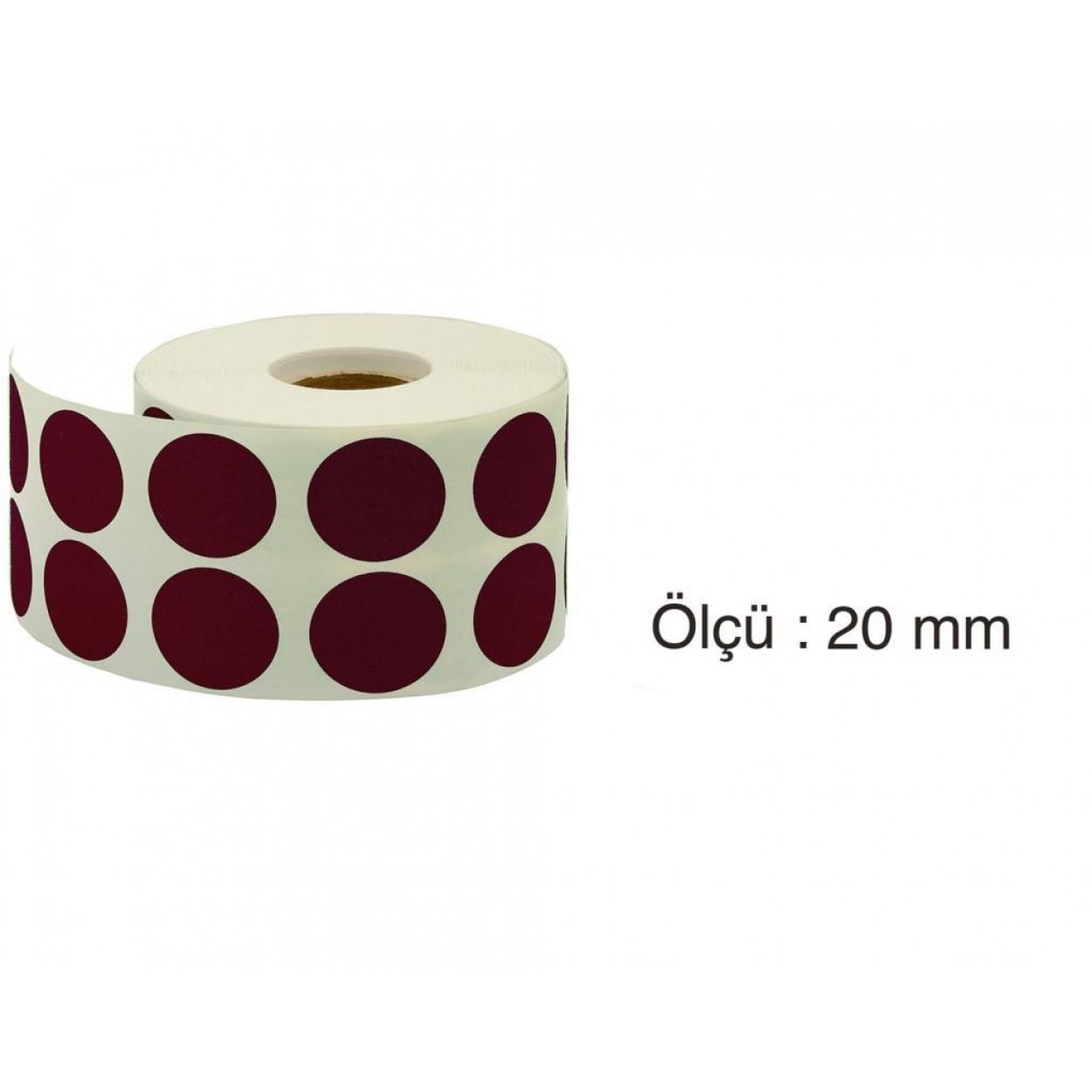 Tanex Nokta Etiket 20 mm 2500 Adet Mor