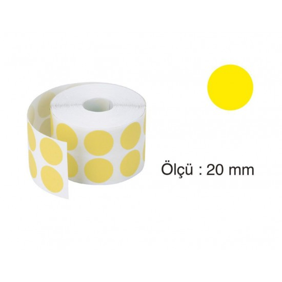 Tanex Nokta Etiket 20 mm 2500 Adet Sarı