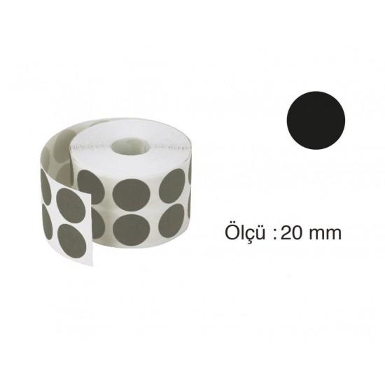 Tanex Nokta Etiket 20 mm 2500 Adet Siyah