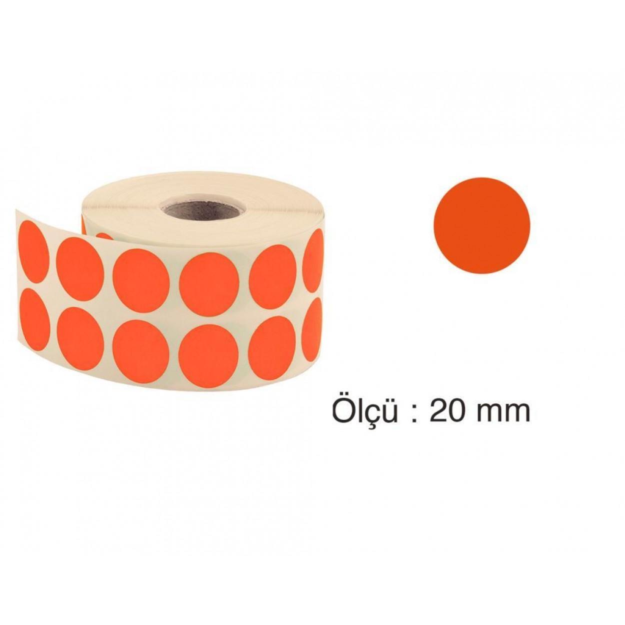 Tanex Nokta Etiket 20 mm 2500 Adet Turuncu