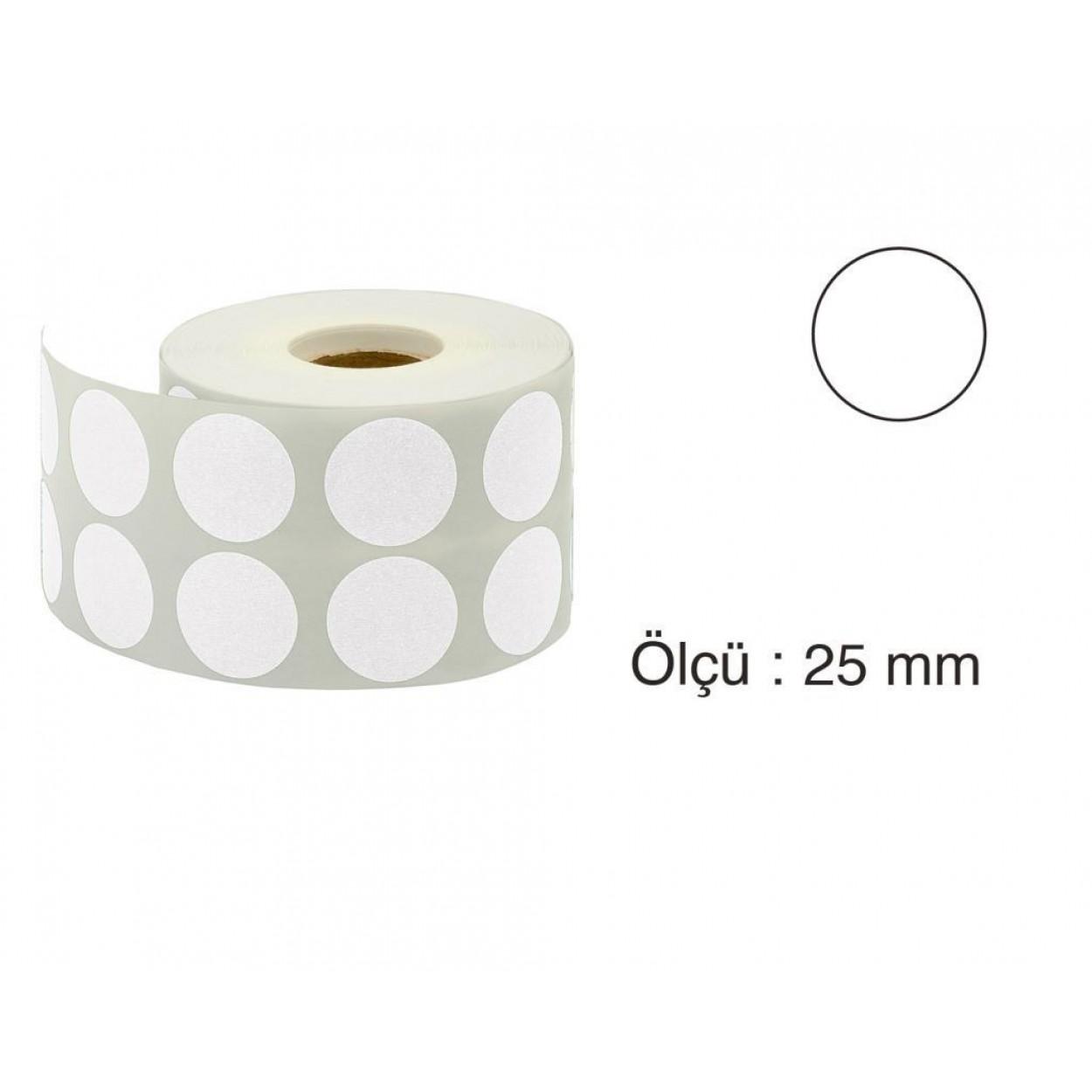Tanex Nokta Etiket 25 mm 2500 Adet Beyaz