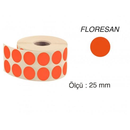 Tanex Nokta Etiket 25 mm 2500 Adet Floresan Turuncu