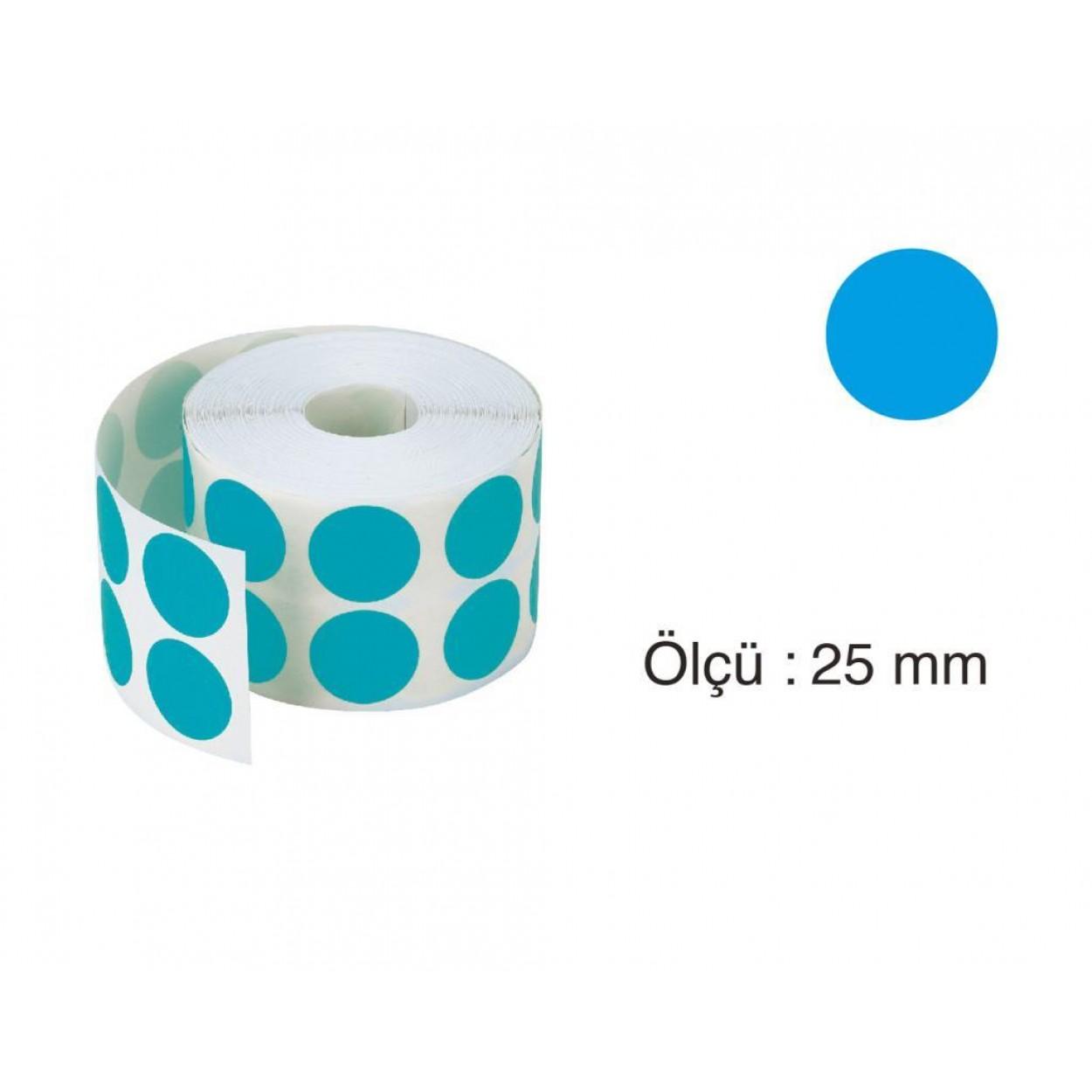 Tanex Nokta Etiket 25 mm 2500 Adet Mavi