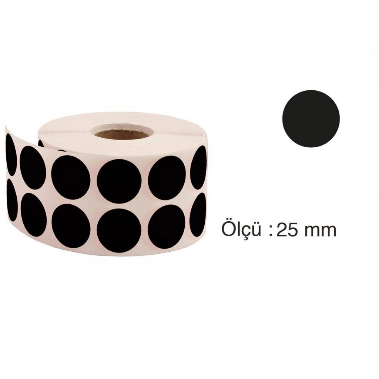 Tanex Nokta Etiket 25 mm 2500 Adet Siyah
