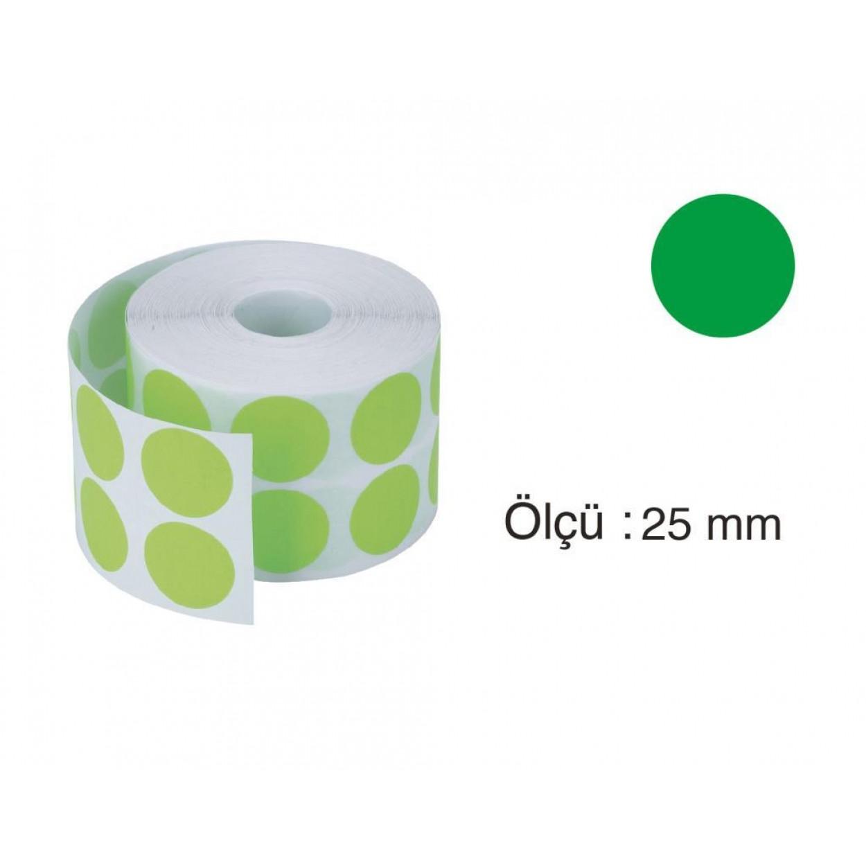 Tanex Nokta Etiket 25 mm 2500 Adet Yeşil