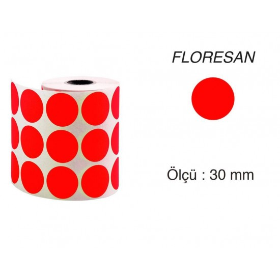 Tanex Nokta Etiket 30 mm 2000 Adet Floresan Kırmızı