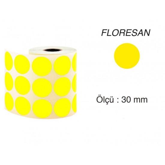 Tanex Nokta Etiket 30 mm 2000 Adet Floresan Sarı