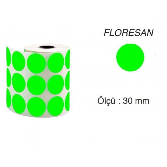 Tanex Nokta Etiket 30 mm 2000 Adet Floresan Yeşil