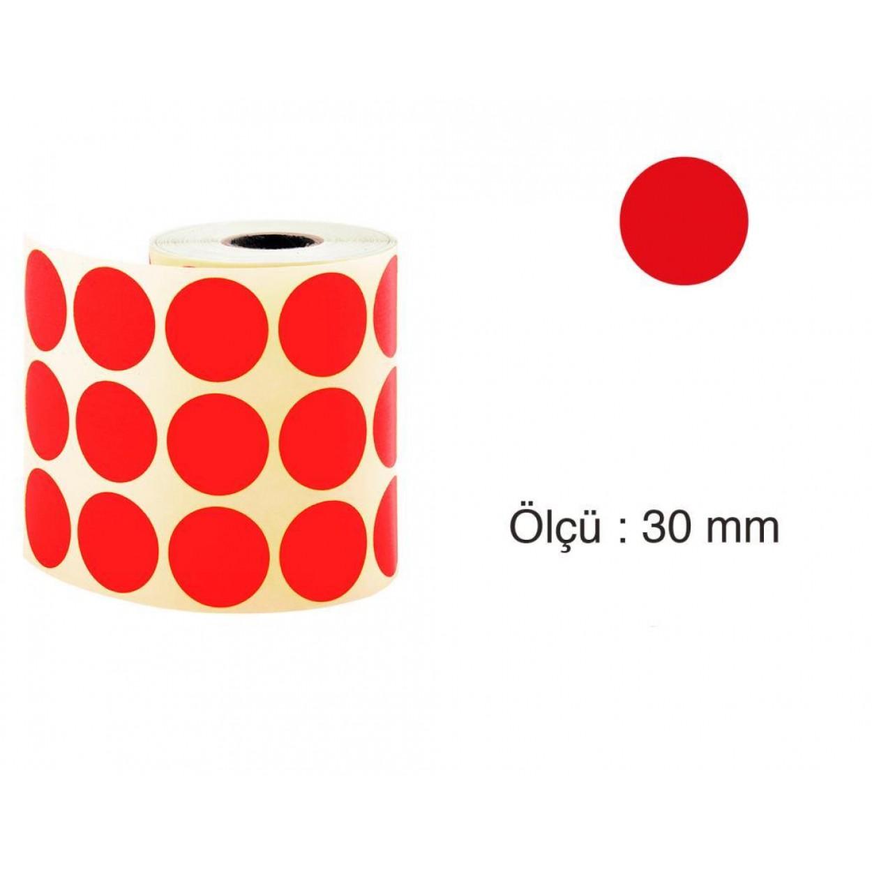 Tanex Nokta Etiket 30 mm 2000 Adet Kırmızı