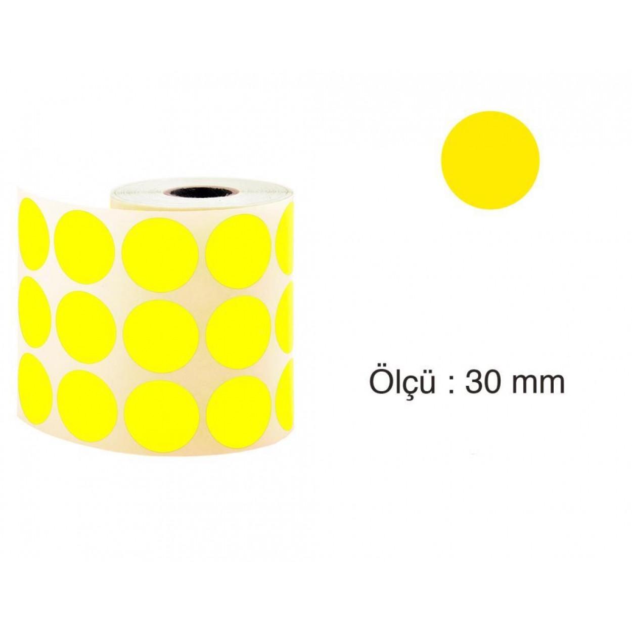 Tanex Nokta Etiket 30 mm 2000 Adet Sarı