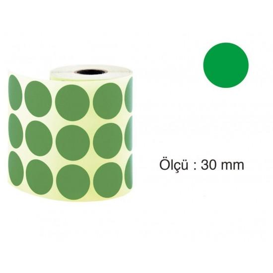 Tanex Nokta Etiket 30 mm 2000 Adet Yeşil