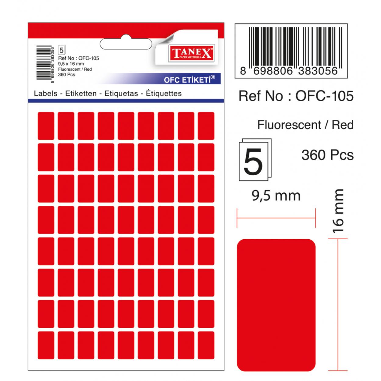 Tanex Ofc-105 Flo Kırmızı Ofis Etiketi